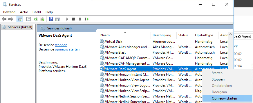 Restart the VMware DaaS Agent service