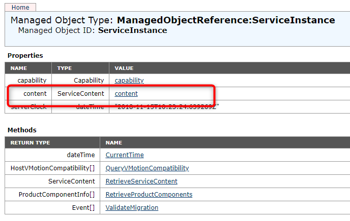 "vCenter Managed Object Browser > Content > ServiceContent"" class=""wp-image-187″/><figcaption>vCenter Managed Object Browser > Content > ServiceContent</figcaption></figure>    <p><strong>Browse</strong> to Content > AuthorizationManager</p>    <figure class="