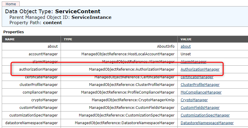 "vCenter Managed Object Browser > authorizationManager > ManagedObjectReference:AuthorizationManager"" class=""wp-image-188″/><figcaption>vCenter Managed Object Browser > authorizationManager > ManagedObjectReference:AuthorizationManager</figcaption></figure>    <p><strong><u>If one of these options is missing, close all your browser windows and retry OR open an incongnito window.</u></strong></p>    <p><strong>Navigate </strong>to vim.AuthorizationManager.EntityDisabledMethodInfo[] > enableMethods, A new browser tab will open with three fields: <strong>Entity</strong>, <strong>Method </strong>and <strong>SourceID</strong>.</p>    <figure class="