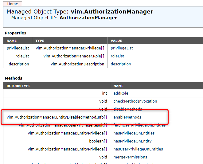 "vCenter Managed Object Browser > authorizationManager > ManagedObjectReference:AuthorizationManager"" class=""wp-image-189″/><figcaption>vCenter Managed Object Browser > authorizationManager > ManagedObjectReference:AuthorizationManager</figcaption></figure>    <p>We go back to the <strong>Excel </strong>list with the locked cp-xxx objects and the vm-xxxx <strong>numbers correlated</strong> to the them. We need those vm-xxxx numbers in the steps below.</p>    <p><strong>Copy/Paste</strong> the XML content from the first code block below to the entity > vim.ManagedEntity[] value.</p>    <!-- Crayon Syntax Highlighter v_2.7.2_beta -->