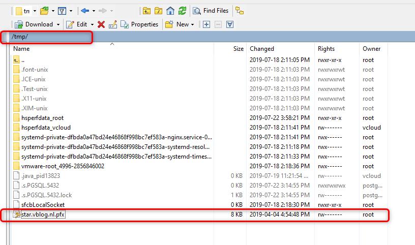 Install wildcard SSL certificates on vCloud Director 9.7 - WinSCP - Upload PFX to TMP folder