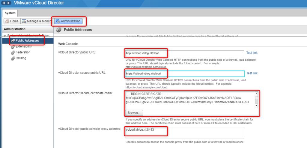 vCloud Director - Public endpoints