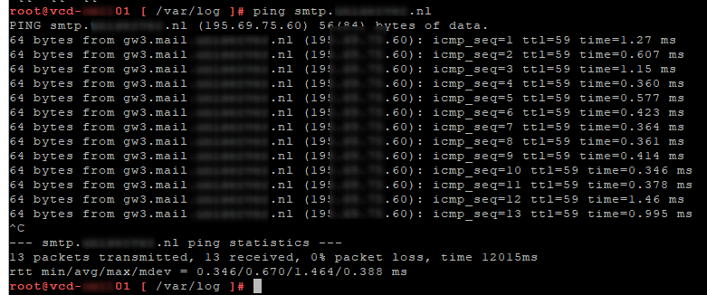Ping to SMTP server