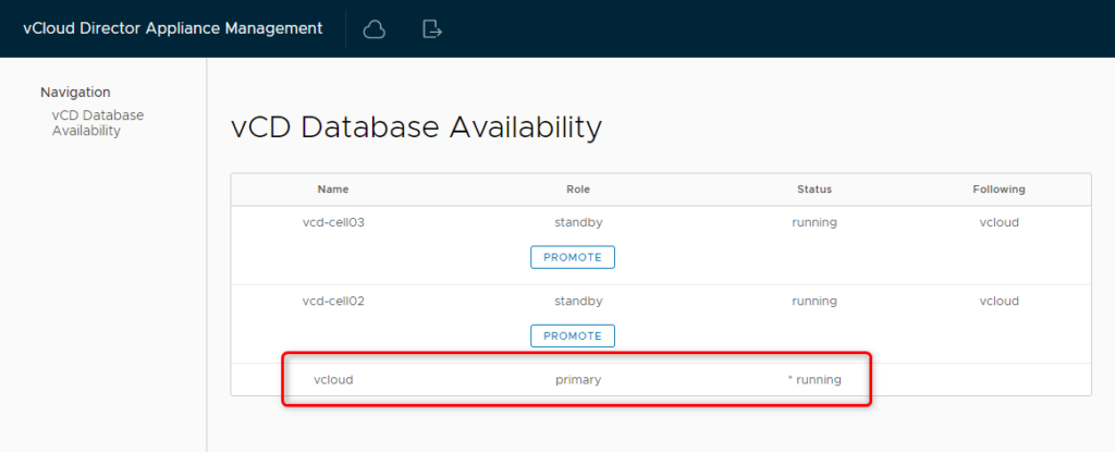 vCD Database Availability - Check Primary Role
