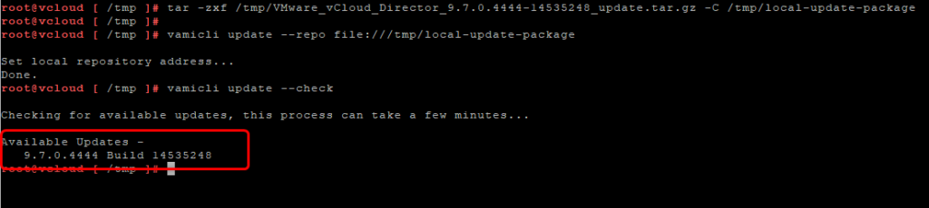vCloud Director - vamicli update --check