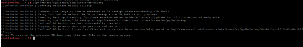 vCloud Director - opt-vmware-appliance-bin-create-db-backup