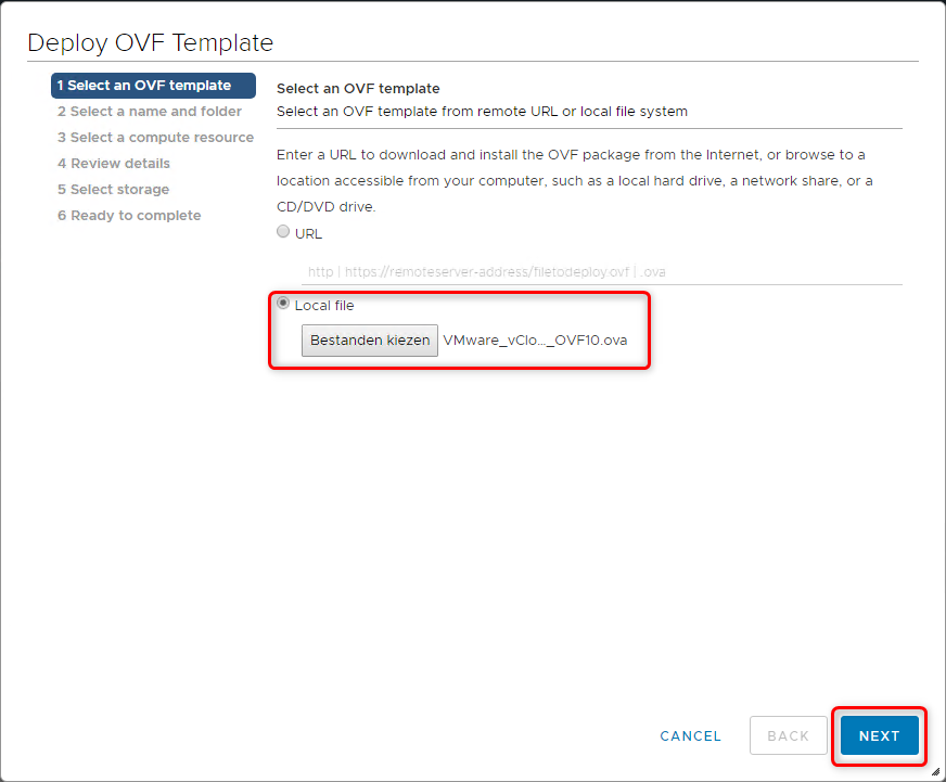 Deploy vCloud Director 9.7 - Select an OVF template