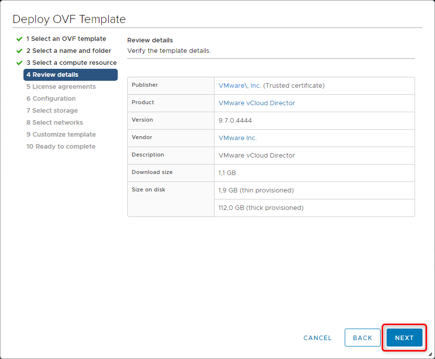 Deploy vCloud Director 9.7 - Review details