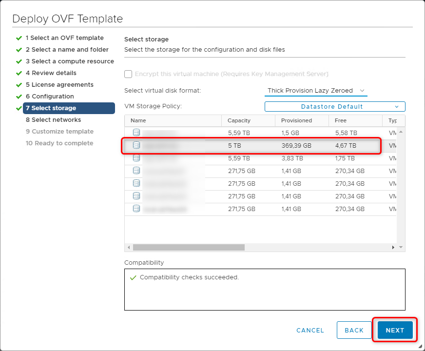 Deploy vCloud Director 9.7 - Select storage