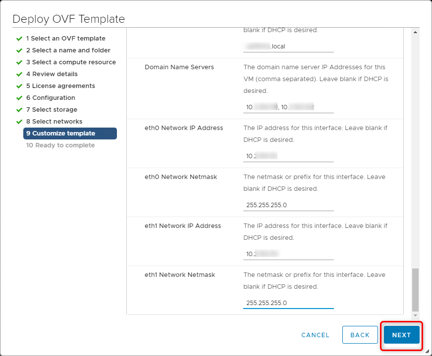 Deploy vCloud Director 9.7 - Customize template