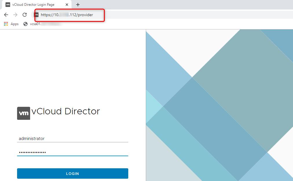 vCD admin portal (HTML 5)