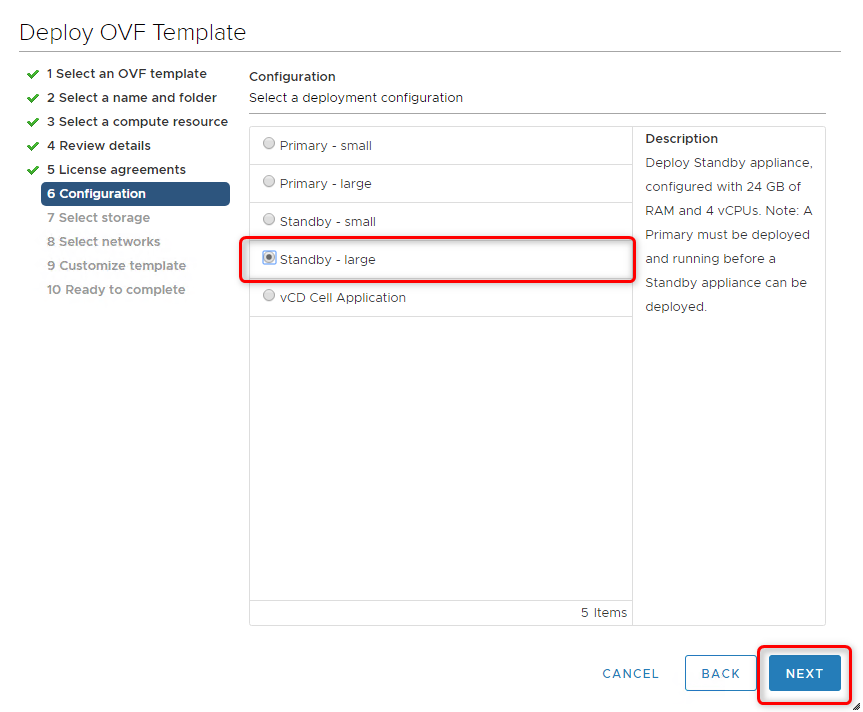 Deploy vCloud Director 9.7 - Deployment configuration