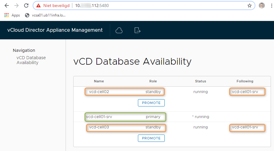 Check vCD Database Availability