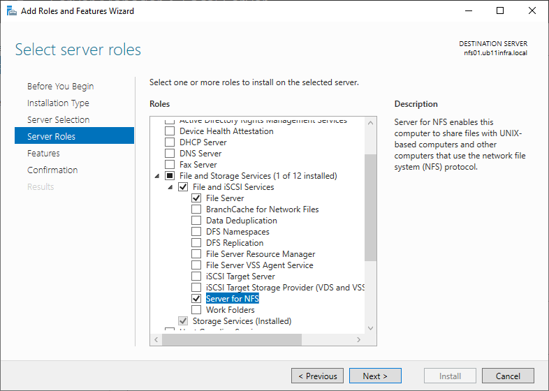Setup a NFS share for vCloud Director with Windows Server 2019