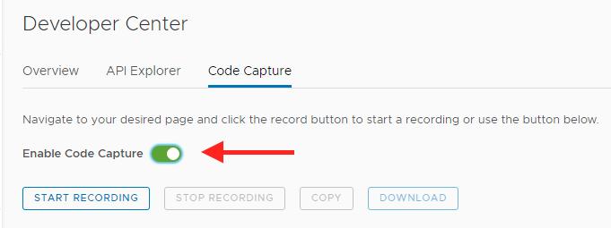 Code Capture enable button