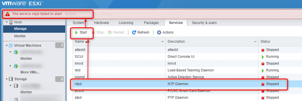 ESXi 7.0 standalone - The service ntpd failed to start