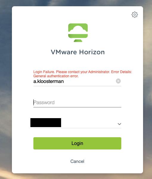 VMware Horizon DaaS error message while logging in